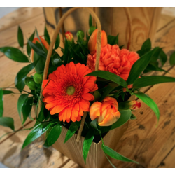 Sac fleuri orange