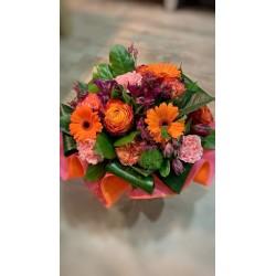 Bouquet bulle Orange & Rose