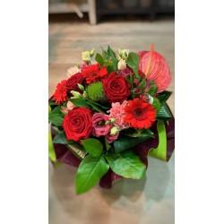 Bouquet bulle Rouge & Rose